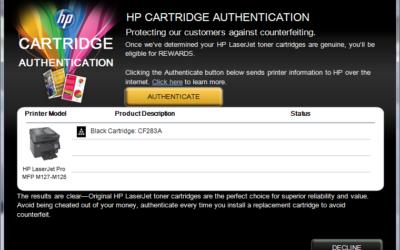 Istruzioni per disattivazione HP Cartridge Policy